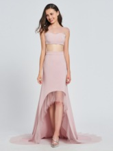 A-Line Bateau Two Pieces High Low Prom Dress