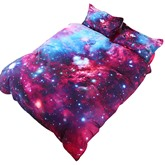 Stars and Multicolored Galaxy Printed Cotton 3D 4-Piece Bedding Sets/Duvet Covers