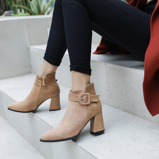Pointed Toe Side Zipper Chunky Heel Buckle Elegant Women's Ankle Boots
