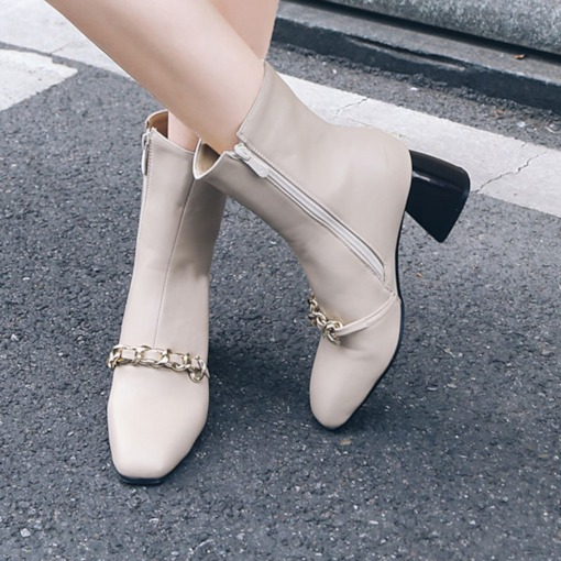 Square Toe Side Zipper Sequin Chunky Heel Plain Women's Ankle Boots