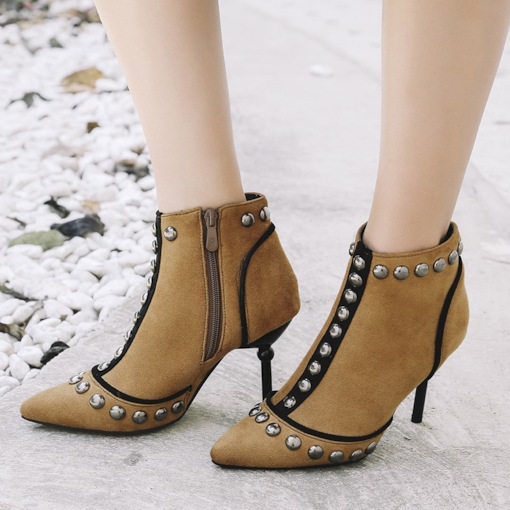Suede Pointed Toe Spool Heel Rivet Women's Ankle Boots