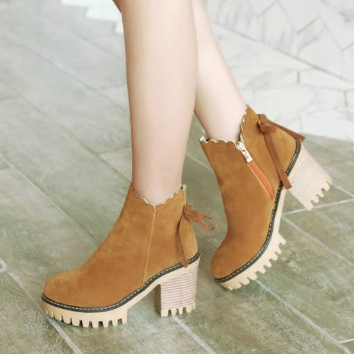 Round Toe Chunky Heel Suede Side Zipper Sewing Bow Ankle Boots