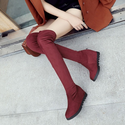 Round Toe Suede Platform Elevated Women's Thigh High Boots