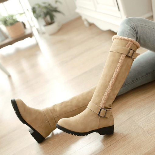 Round Toe Slip-On Buckle Block Heel Short Floss Knee High Boots
