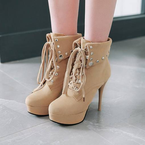 Round Toe Lace-Up Front Stiletto Heel Fashion Ankle Boots
