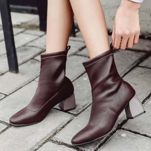 Square Toe Slip-On Thread Chunky Heel Elegant Women's Ankle Boots