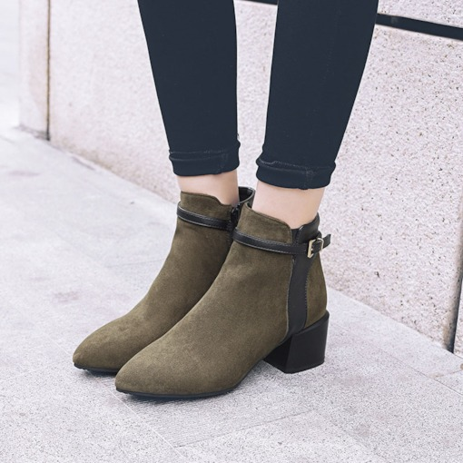 Pointed Toe Side Zipper Chunky Heel Buckle Chic Women's Ankle Boots