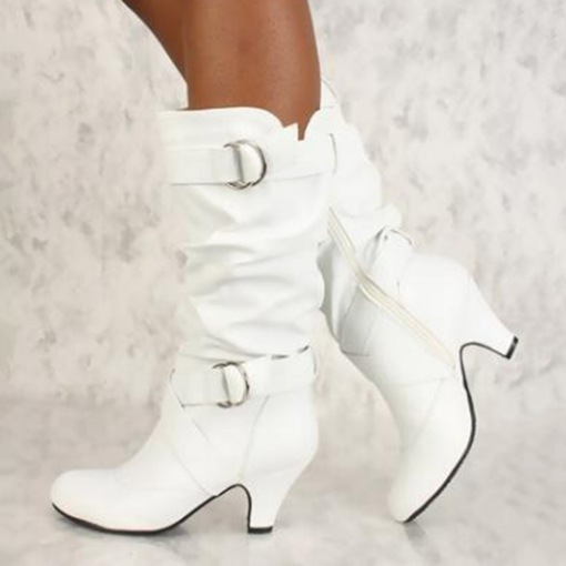 Buckle Chunky Heel Round Toe Side Zipper Women's Mid Calf Boots