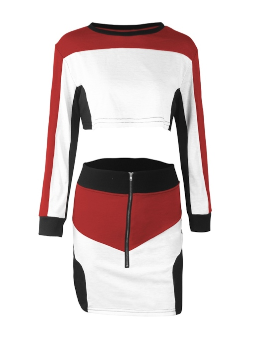 Color Block T-Shirt and Bodycon Skirt Women's Two Piece Set