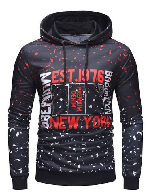 Irregular Words Print Fashion Slim Men's Hoodie