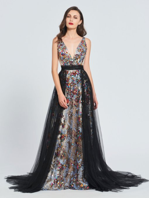 A-Line V-Neck Sequins Sashes Prom Dress 2019