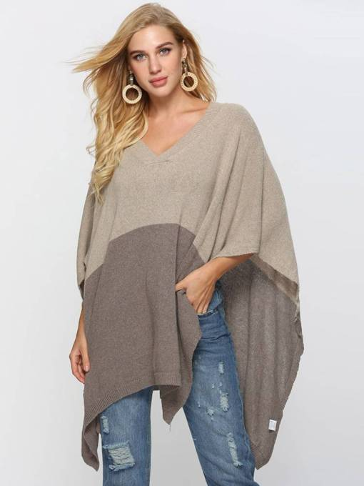 Loose Fit Contrast Color V-Neck Women's Cape