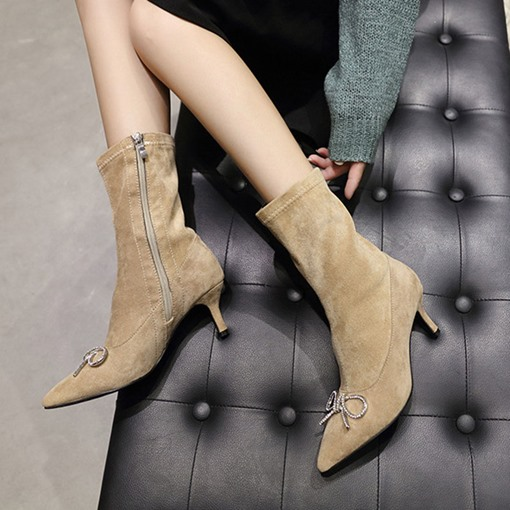 Suede Pointed Toe Side Zipper Stiletto Heel Rhinestone Ankle Boots
