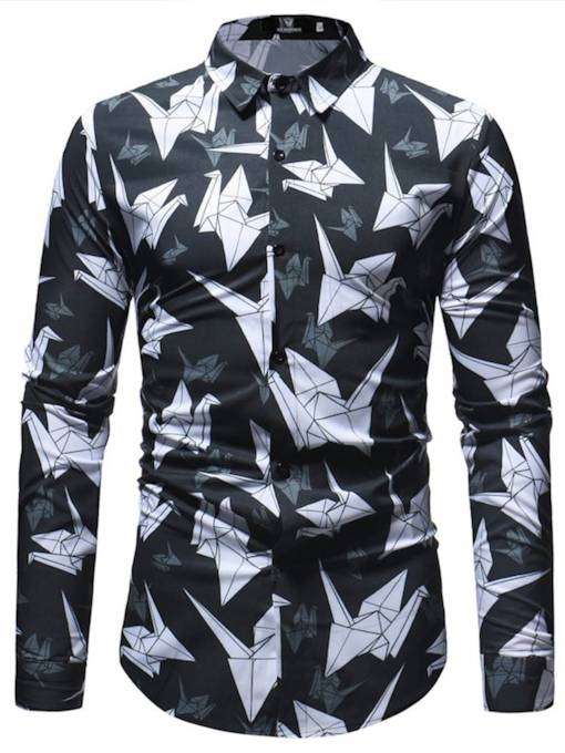 Lapel Paper Crane Print Slim Men's Shirt