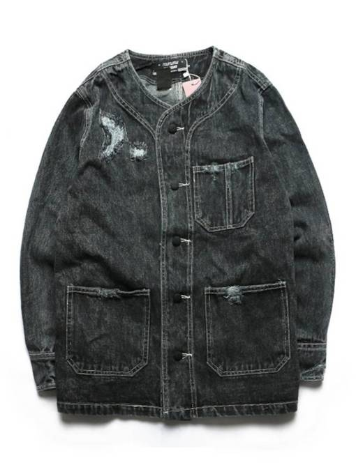 Loose Hip Hop Ins Style Denim Worn Hole Men's Jacket