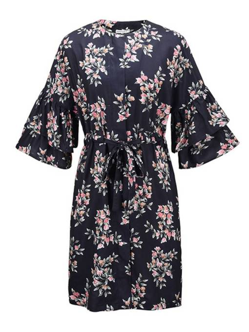 Floral Printed Tiered Sleeve Women's Day Dress
