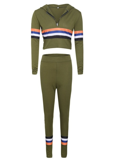 Striped Color Block Hoodie and Pants Women's Two Piece Set