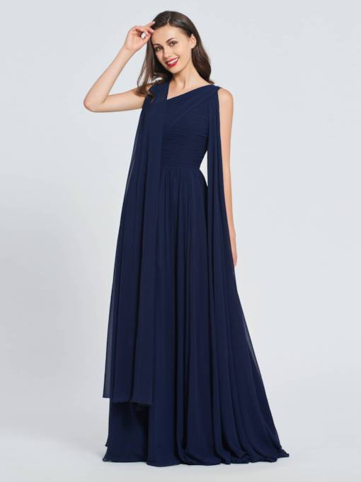 A-Line V-Neck Pleats Long Prom Dress