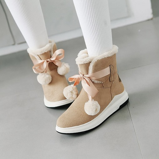 Lace-Up Front Round Toe Suede Snow Boots for Women