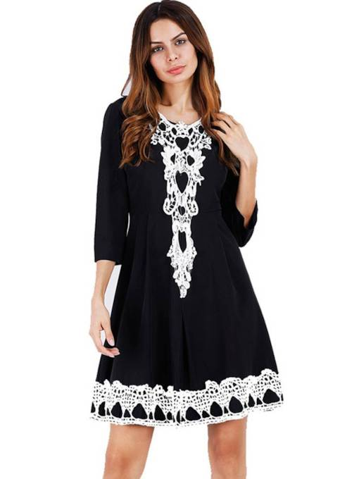 3/4 Sleeve Appliques Women's A-Line Dress