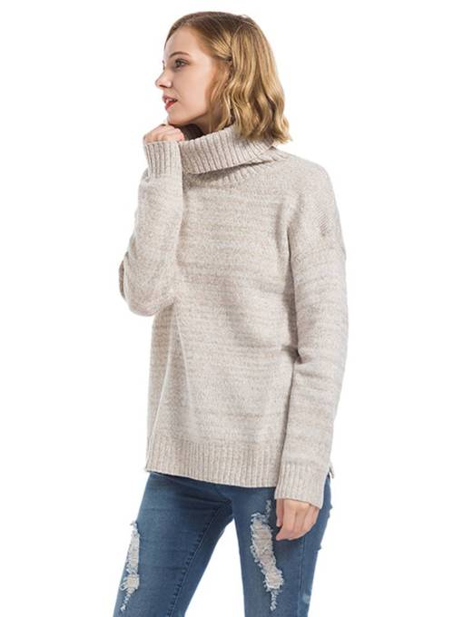 Classic High Collar Pure Color Women's Basic Sweater