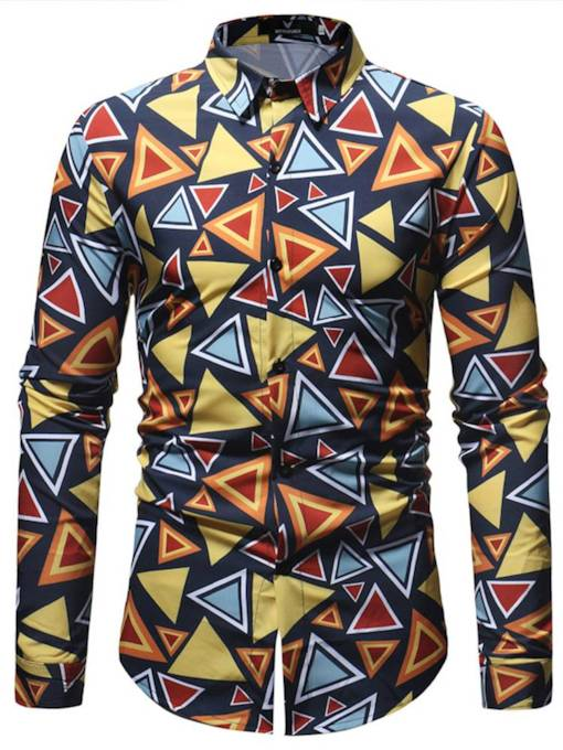 Lapel Slim Colored triangle pattern Men's Shirt