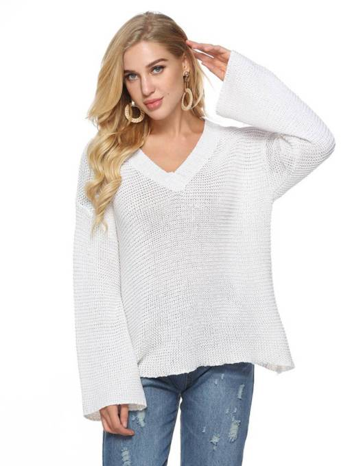 Flare Sleeve V-Neck Loose Fit Solid Color Women's Sweater