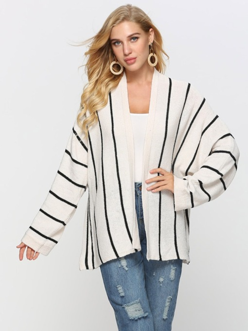 Open Front Mid Length Stripe Loose Fit Women's Cardigan