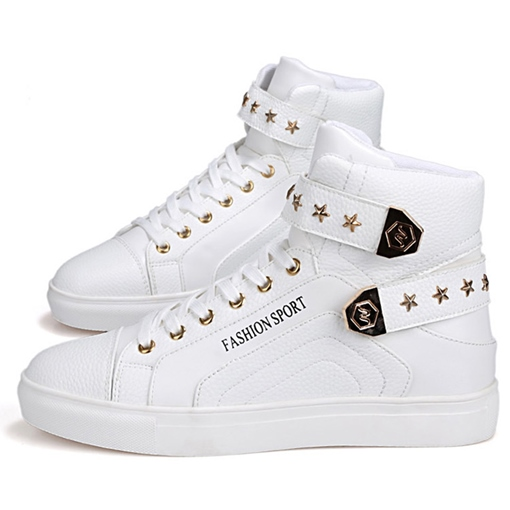Lace-Up Letter Star Printed High Top Buckle Men's Sneakers