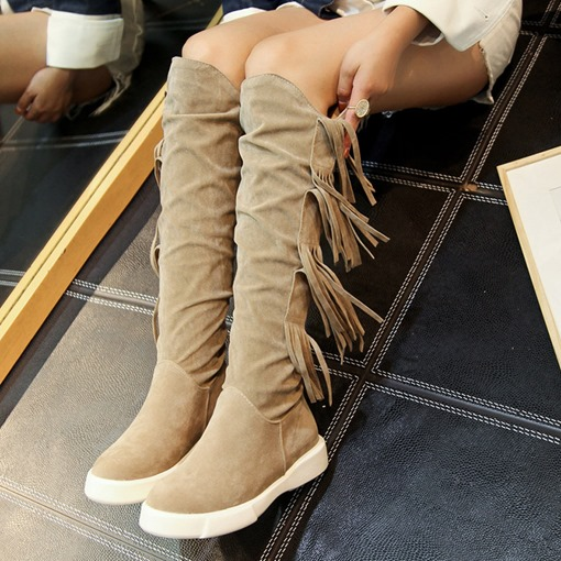 Suede Round Toe Slip-On Fringe Flat Women's Knee High Boots
