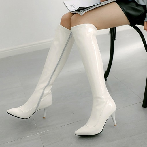Pointed Toe Side Zipper Stiletto Heel PU Stylish Riding Boots