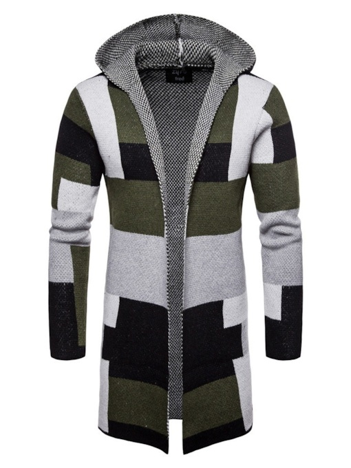 Color Block Hooded Patchwork Mid-Length Winter Men's Sweater