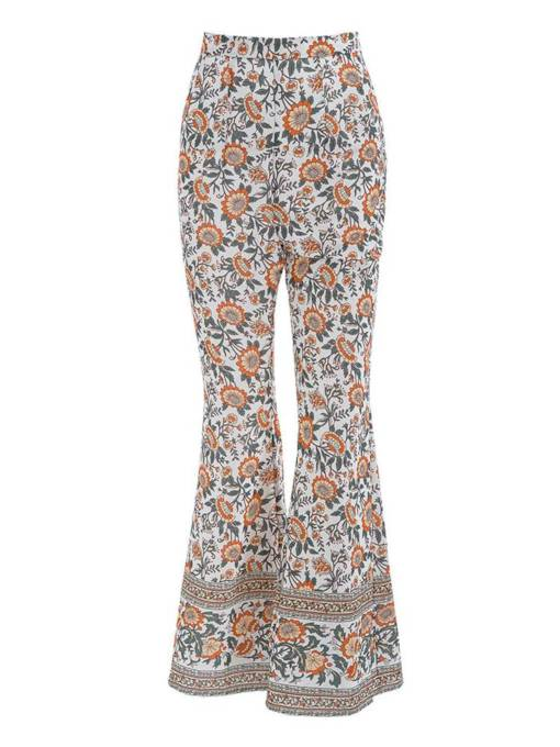 Floral Print Bellbottom Women's Casual Pants