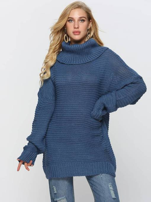 High Neck Loose Fit Mid Length Women's Sweater