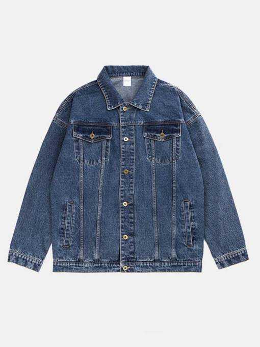 Oversize Pockets Back Color Block Patchwork Denim Men's Coat