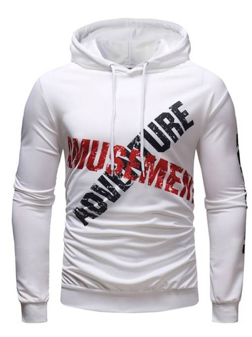 Slim Cool letter fashion print Men's Hoodie