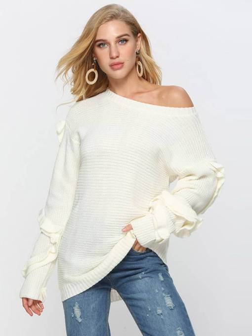 One Shoulder Off Frilled Loose Fit Women's Sweater