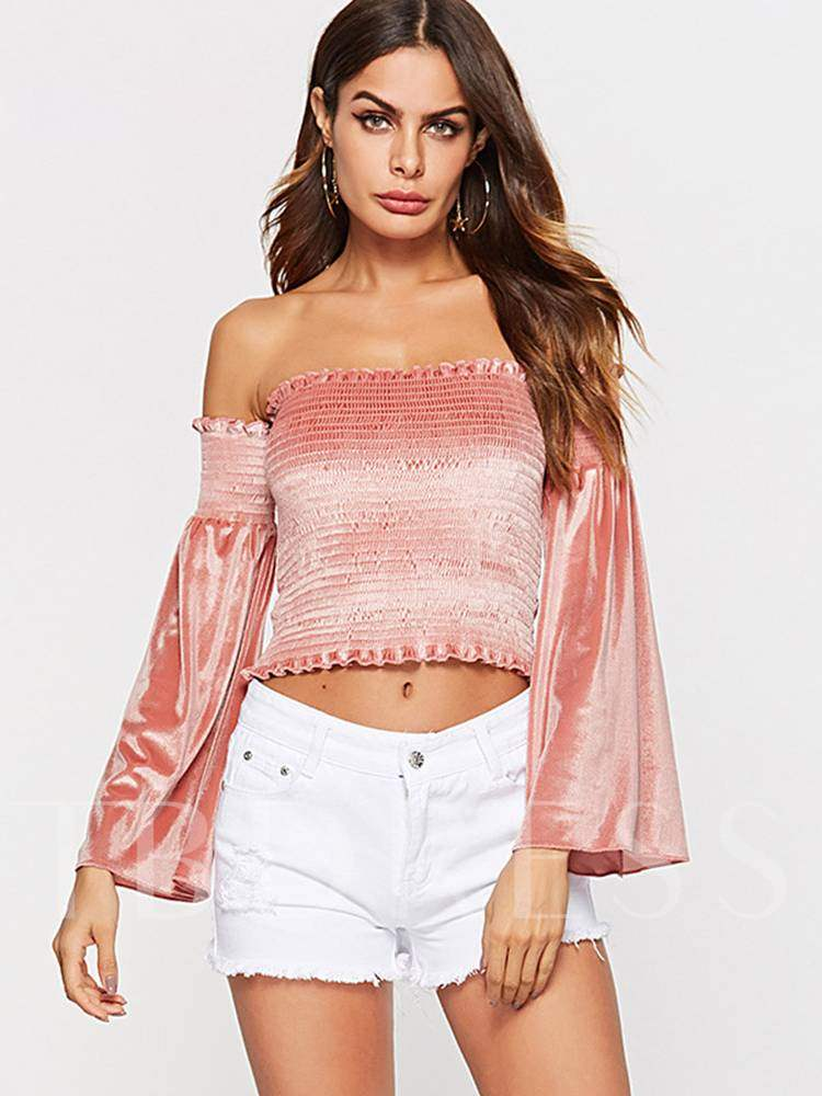 Buy Off Shoulder Ruched Bell Sleeve Women's Blouse, Spring,Fall, 13394818 for $16.18 in TBDress store