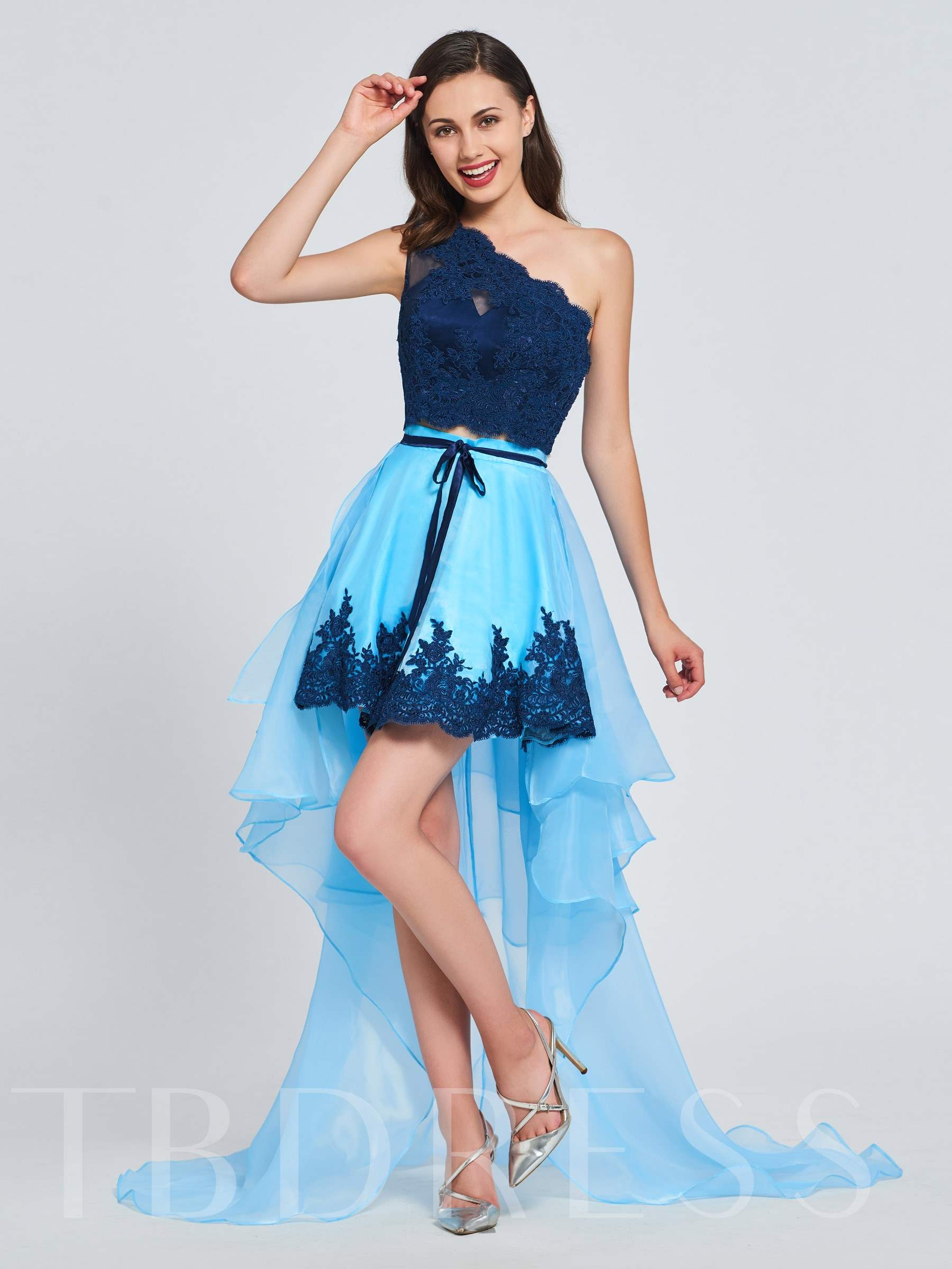 Buy A-Line One-Shoulder Beading Lace Sashes Prom Dress, Spring,Summer,Fall,Winter, 13394725 for $139.99 in TBDress store