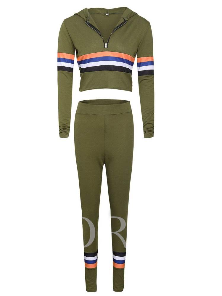 Buy Striped Color Block Hoodie and Pants Women's Two Piece Set, Fall, 13396036 for $15.44 in TBDress store