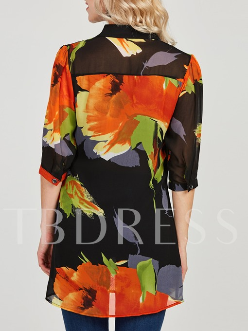 Color Block Lapel Floral Print Women's Blouse