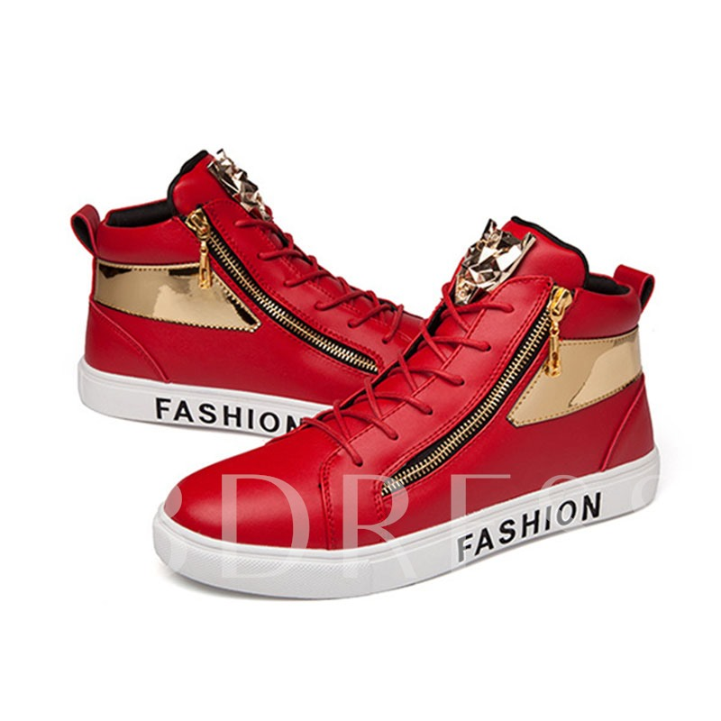 Color Block Lace-Up Sequin Zipper Casual Mid-Cut Men's Sneakers