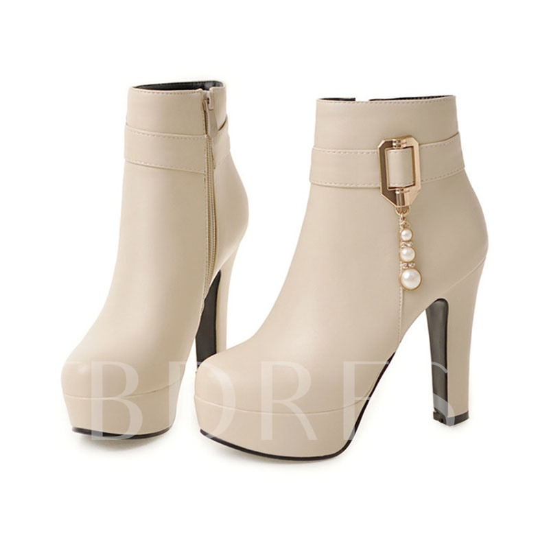 Round Toe Side Zipper Chunky Heel Beads Women's Ankle Boots