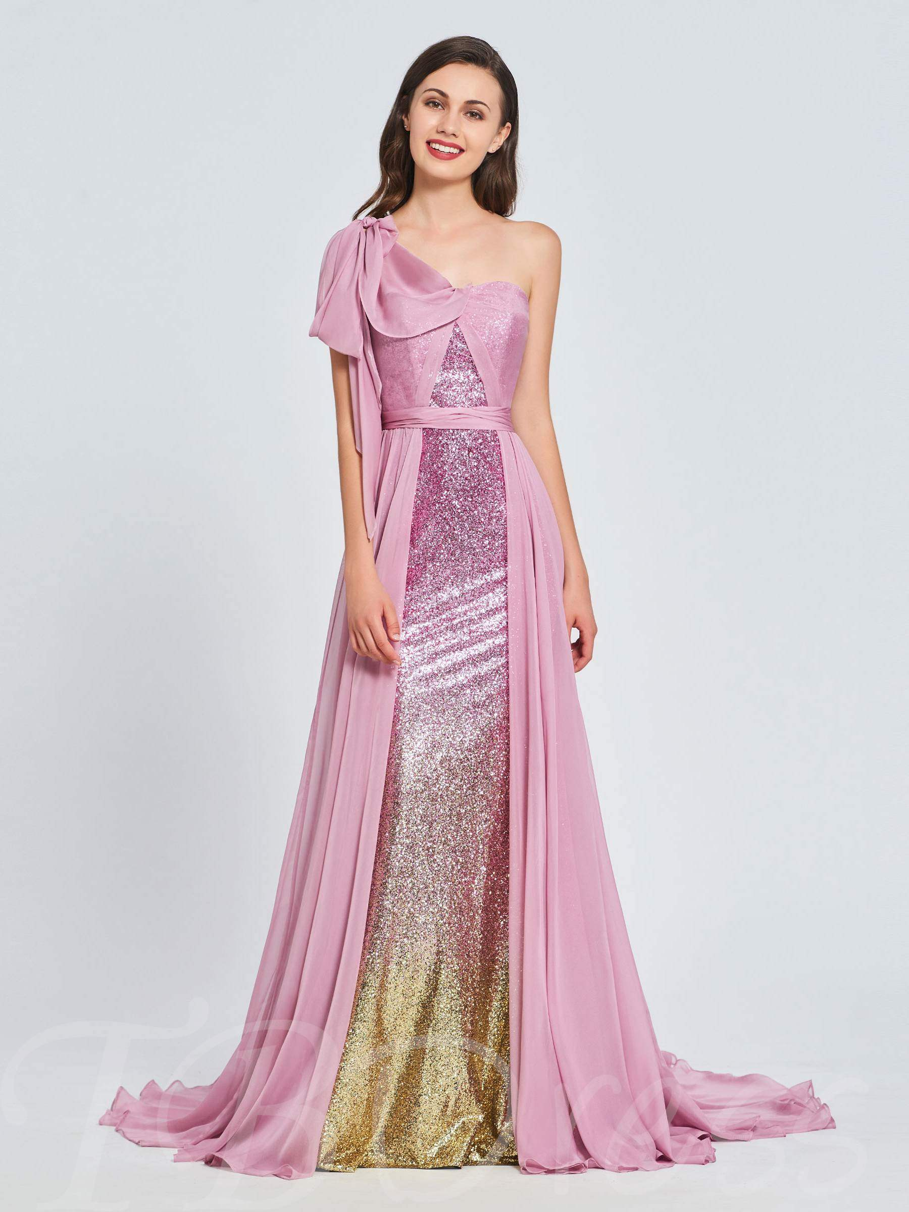 Buy A-Line One-Shoulder Cascading Ruffles Sequins Prom Dress, Spring,Summer,Fall,Winter, 13394730 for $144.79 in TBDress store
