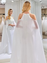 Halter Mermaid Open Shoulder Wedding Dress with Train