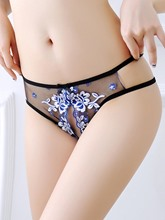 Sexy Embroidery Bowknot Open Crotch Panty