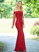 Off the Shoulder Long Sleeve Lace Evening Dress