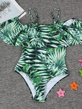 Green Ruffles Plant One Piece Bathing Suits