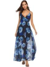 Dark Blue Printing Chiffon Women's Maxi Dress