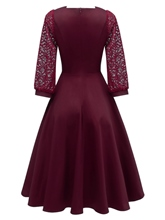 Burgundy Square Neck Women's Day Dress